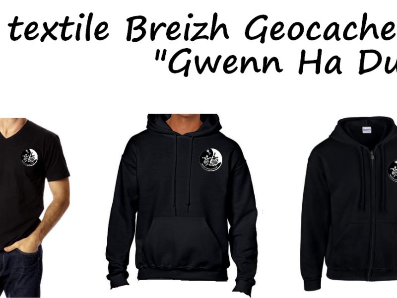 un t-shirt, un sweat Breizh Geocacheurs version Gwenn Ha Du